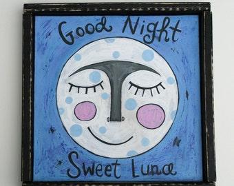 Folk art, Original painting, 12 x 12, acrylic,moon, luna, soul, colorful, home decor, good night