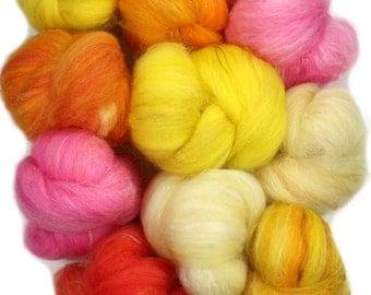 Sunstone -- mini batts (2 oz.) organic polwarth wool,soysilk, bamboo, sparkle.