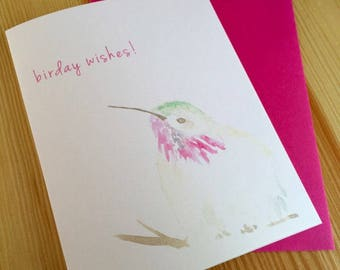 Hummingbird Birthday Card - Watercolor Bird Card - Happy Birday Hummingbird Card - Watercolor Bird Birthday Greeting Card