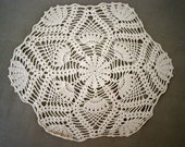 Vintage Handcrafted Crocheted Doily 9 inches in Ecru,  Vintage Handmade Crochet