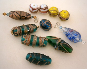 Lot of Assorted Glass Beads, Clearance Sale Lampworked Beads, Orphan Beads, Willow Glass