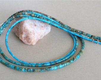 3 Strand Kingman Boulder Turquoise and Blue Turquoise Heishi Necklace - Arizona Turquoise - Sterling Silver Hook and Eye Clasp