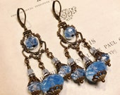 Victorian Earrings in Pale Blue Opal Glass