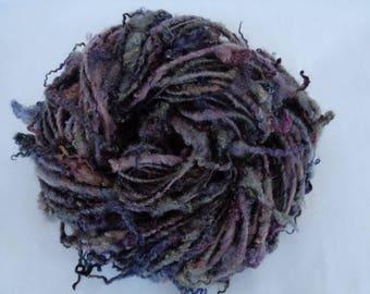 BFL handspun yarn, art yarn, curly yarn, doll hair, chunky yarn, bulky yarn, hand painted yarn, embellishing yarn,HEATHER & MOSS,35yds,2.5oz