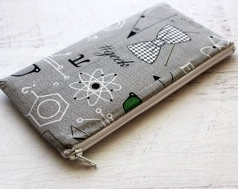 Geeked out zippered pouch - gray zipper pouch - BUJO accessories - pen pouch - planner bag - journal bag - gift for dad - under 15 gift