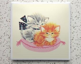 Vintage Cuddly Kittens Tile Coaster