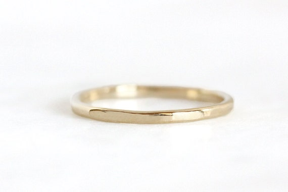 14k gold hammer faceted ring, hammered band, wedding band, eco friendly, women's ring, solid gold, recycled metal, handmade, wedding ring