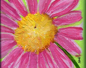 Daisy Painting, Mini Canvas with Easel, Pink Shasta daisy, lime green miniature painting, small floral art, acrylic painting, mini canvas