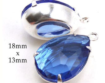 Sapphire Blue Glass Beads - Framed Glass Pendant - Earring Drops - 18mm x 13mm Pear or Teardrop - Sheer - Rhinestone Glass Gems - One Pair