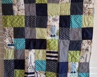 Moving Sale Spring time in Paris Navy Baby Quilt - lime green, navy, teal, white 315