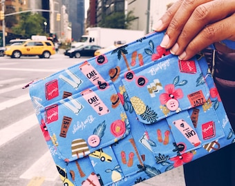 Bon Voyage Wristlet, Wallet Wristlet for Women, Blue Wristlet Purse, Large Wristlet, Women's Zipper Wallet, iPhone Wristlet