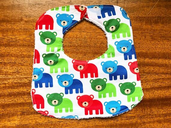 Bears Baby Bib, Boy Baby Gift, Cotton Baby Bib, Boy Baby Bib, Drool Bib, Handmade Baby Bib