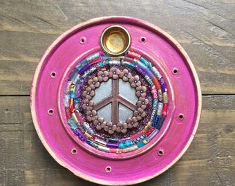 Peace Sign Glass Mosaic Incense Burner