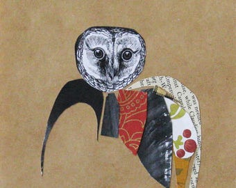 Collage, birds and feathers, original art