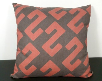 Boho Pillow 20x20 Brown, Clay Red African Ethnic Style (B10)