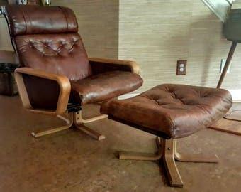 Retro Norwegian Soda Galvano Brown Leather Recliner and Ottoman Vatne Mobler