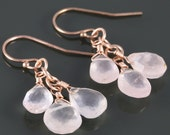 Rose Quartz Cluster Earrings. Three Stones. Rose Gold Filled Ear Wires. Genuine Gemstone. June Birthstone. f16e214