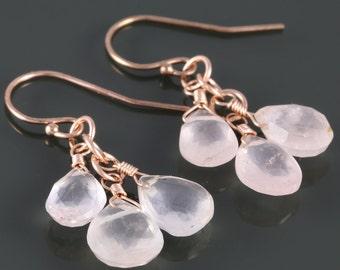 Rose Quartz Cluster Earrings. Three Stones. Rose Gold Filled Ear Wires. Genuine Gemstone. June Birthstone. f16e214