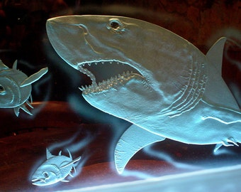 Great White Shark carved Glass LED lights. Handmade etched glass Shipping INCLUDED
