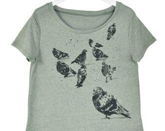 Pigeon Print Flowy Shirt