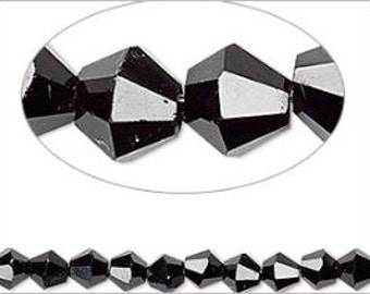 Jet Black Faceted Bicone Crystals 4mm 16""