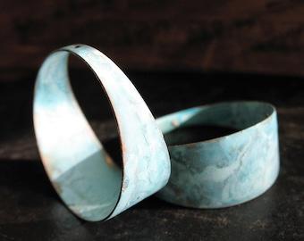 Wide Brass Hoop Findings in Cabos Blue - 1 pair