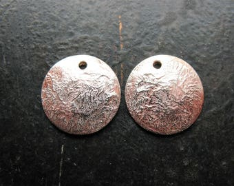 Bright Fine Silver Fused Copper Discs - 1 pair - 12mm - Single Hole Domed Charms
