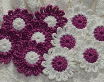 Crochet Daisies Flower Applique Embellishment - DEEP ORCHID/WHITE - 10 Pcs