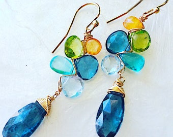 Seaside Woven Earrings with Kyanite, Apatite, Blue Topaz, and Peridot
