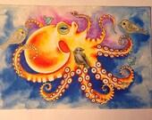 Octopus and Birds Original Painting