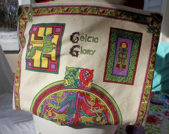 Upcycled Tote Bag, Upcycled Tea Towel, Celtic Glory, Eco Tote, Market Tote, Grocery Tote, Library Tote, OOAK, Yellow Tote, Book of Kells