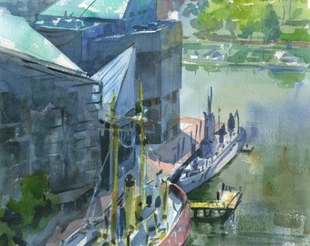 Baltimore Inner Harbor and Aquarium, watercolor plein air painting, print in multiple sizes