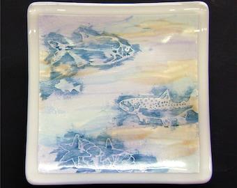 Fish Trinket Dish in Deep Aqua and White Fused Glass