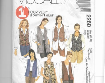 McCall's Misses' Unlined Vests In Two Lengths Pattern 2260