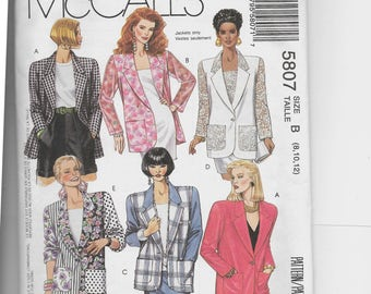 McCall's Misses' Unlined Jacket Pattern 5807