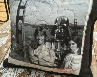 SALE- Star Wars Pillow-Throw Pillow--Upcycled Eco Friendly-Quilted-Skywalker Family Vacation