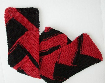 Red and Black Sports Team Scarf, Knit Atlanta Falcons Scarf