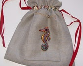 Custom Order RESERVED FOR Ruth Guskiewicz.  Blue large drawstring bag with sea horse