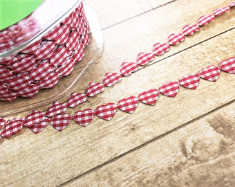 """1 Yard Red and White Gingham Hearts Adhesive Ribbon, Trim, Decoration, Scrapbooking, Card Making, Valentine, Wedding, Home Decor, 3/8"""" wide"""
