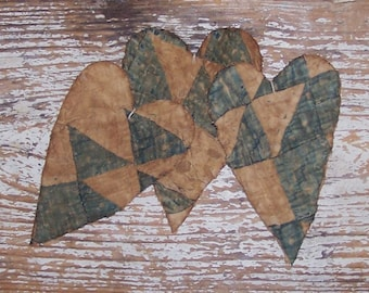 3 Rustic Heart Ornaments, Farmhouse Decor, Primitive Hearts, Antique Quilt WORN OUT Tattered Hearts, Blue White - Ready to Ship