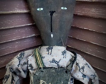 VERY Primitive, Kitty, Cat, Kitten, Feline, Black Cat, Recycled, Upcycled, TeamHAHA, FAAP, Hafair, Doll by Mustard Seed Originals