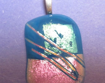 Blue, Pink Fused Glass Pendant with hearts and stringers Pendant