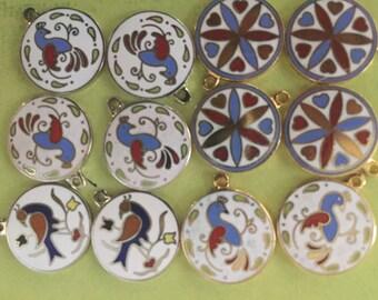 lot of 12 Dutch Pa Hex Luck Bird Flower Star Symbols Signs Jewelry Enamel Charms Metal Crafts Art Mixed Media Pendants Vintage