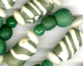 Handmade Bead Set Bead Combo Mix Vintage Ceramic Prosser Glass Marbled Green White Heishi Green Round Beads 3 Sizes