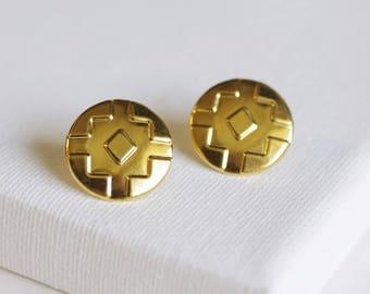 tribal stud earrings . geometric stud earrings . gold aztec earrings . shield earrings . navajo jewelry // 2BCKL