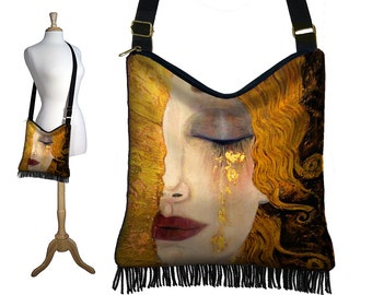 Boho Bag Hippie Fringe Purse Bohemian Crossbody Bag  Fabric Handbags Gustav Klimt Freya's Tears Art Nouveau Woman Goddess Gold Red Black RTS
