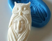 OWL GODDESS Spirit Silicone Mold Mould 63  mm - Spiritual Nature Polymer Clay Sugarpaste Jewellery Making Cake Cake Decorate Fimo Resin