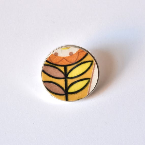 Recycled China Simple Circle Brooch - Orange and Yellow - Scarf Pin