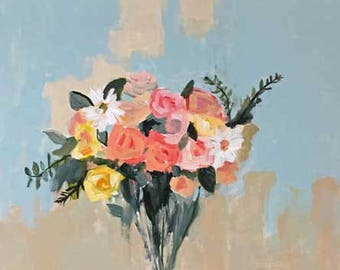 original acrylic painting large art wall art neutral colors flower painting floral art
