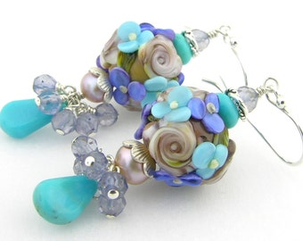 Blue turquoise iolite flower earrings - handmade, artisan lampwork, lavendar pearl, cserpentDesigns